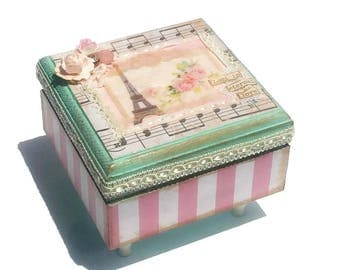 Girls Paris Jewelry Box Shabby Chic French Decorative Box