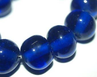 LOT OF 4 Vintage Carved Chinese Cobalt Blue Peking Glass Round Beads Bead14mm