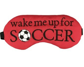 Wake me up for Soccer Satin Sleep Eye Mask in Red