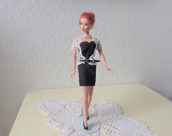 Candi Girl Fashion Doll  from Hamilton Toys, 1990 Re-dressed in a  Black Knit Dress, White Lace Sweater from ETSY Shop BarbiesRunway
