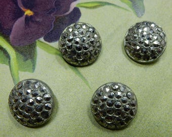 4 Matching Vintage Pot Metal Buttons w/ Marcasite Stones    ODK2