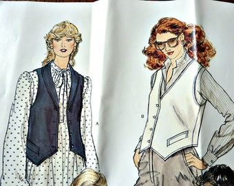 1970's Vogue Sewing Pattern 7297 Womens Vest Size 10 Vintage 4 Vest Variations