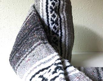 Vintage Mexican Blanket, Serape, Gray, White, Navy Blue, Black, Boho, Home Decor, Bedding, Throw Blanket, Yoga Mat