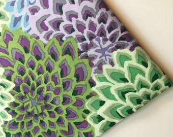 Kaffe Fassett Dahlia Blooms Succulent Fabric, OOP, Rare Colorway, Remnant