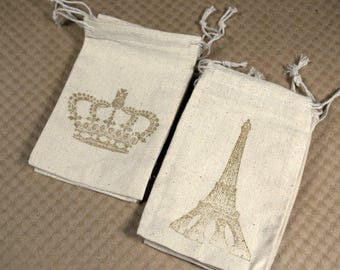 Set of Six Hand Stamped Muslin Bags * drawstring bags * cotton * party favors * showers * packaging