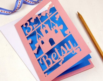 Personalised Papercut Princess Castle Birthday Card