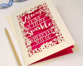 Always Leave a Little Sparkle Wherever You Go Papercut Card, Leaving Card, Good Luck Card, Positive Quote Motivational Card, sku_unp_sparkle