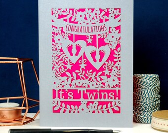 Papercut Twins Card, Silver Congratulations on the Birth of Baby Twins Laser Cut Card, Baby feet Card, SKU_unp_twins