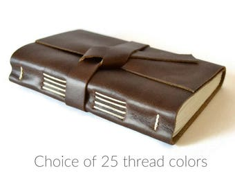 Leather Bound Notebook Lined Leather Journal Personalized, Small Journal, Leather Gifts for Men, Boyfriend Gift, Leather Gifts for Him
