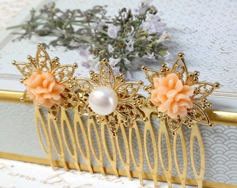 SALE - Bridal Wedding Hair Comb, Vintage Style Filigree Flowers, Hair Combs for Wedding, Bridal Wedding Hairpiece, Floral Hair Accessory