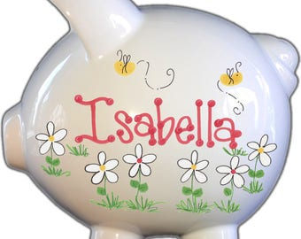 Hand Painted Personalized Piggy Bank - Custom Hand Painted Designs - Personalized Name