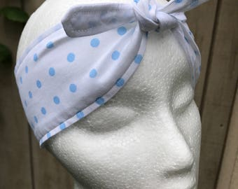 Blue and White Adult Tie Headband