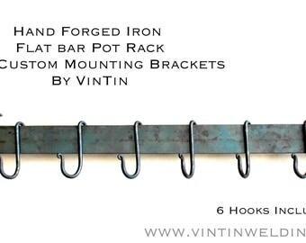 Blacksmith Handmade Iron Flat Bar Under Cabinet Style Pot Rack and Hooks by VinTin