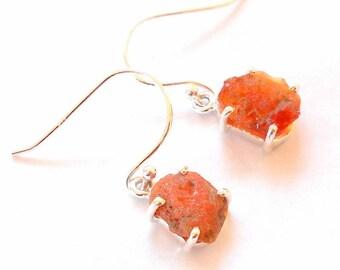 Mexican Fire Opal Sterling Silver Earrings earthegy October Birthstone #2864