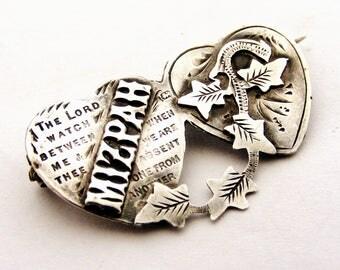 Edwardian sterling silver double heart MIZPAH brooch