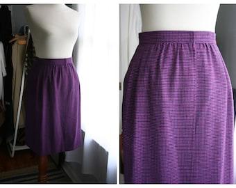 Vintage Saint Laurent Pencil Skirt/ 80s Wool Wrap Skirt / Small / Purple Plaid