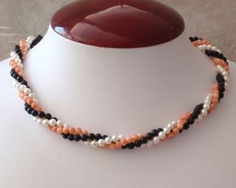 Coral Pearl Necklace Twisted Triple Strand Vintage 101614GL