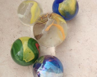 Large Glass Marbles Lot of Five Shooter Vintage Blue Green Yellow