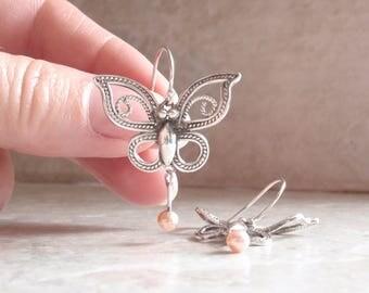 Butterfly Pearl Earrings Filigree Look Sterling Silver Butterfly Vintage V0235