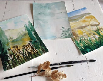 Set of 3 ORIGINAL Watercolors - Tuscany Landscapes 10X8 inches