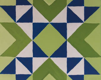 Quilt Block Painting Quilting Art 12x12 Canvas Green and Navy Blue