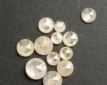 ON SALE 55% 3mm White Rose Cut Diamond, Loose Rose Cut Diamonds, Flat Back Faceted Diamond Cabochons, White Rough Diamond, White Raw Diamond