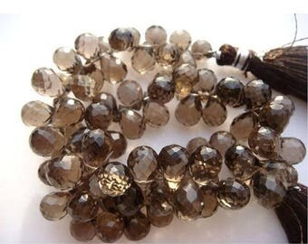 ON SALE 55% Smoky Quartz - Smoky Quartz Micro Faceted Tear Drop Briolettes - 8 Inch Strand - 64 Pieces - 9x6mm To 7x5mm Each