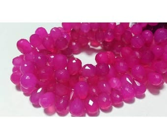 ON SALE 55% Pink Chalcedony Beads, Briolette Beads, Tear Drop Beads, Faceted Gemstones, 70 Pieces Approx, 9x12mm Each, Wholesale Price, 8 In
