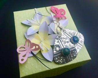 Transformation Earrings - Azurite Malachite earrings - Guitar Pick Style Earrings - Gemstone Earrings