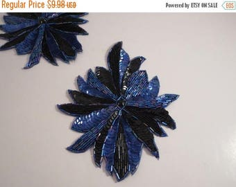ON SALE Black and Royal Large Beaded and Sequined Applique--One Piece