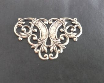 Victorian Styled Antique Filigree Stamping Brass Silver plated Gothic