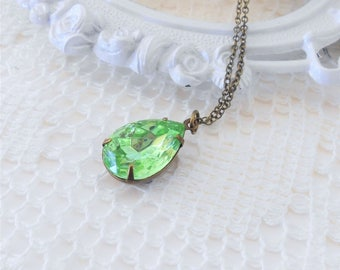 Peridot Necklace, Crystal Necklace, Art Deco Necklace, Old Hollywood Necklace, Estate Jewelry, Peridot Pendant Necklace, Green Necklace