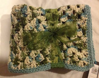 Cotton Granny Square Blanket country blue green cream afghan