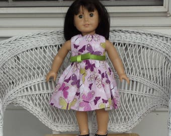 Butterfly Garden Dress Handmade to Fit American Girl and Other 18 Inch Dolls