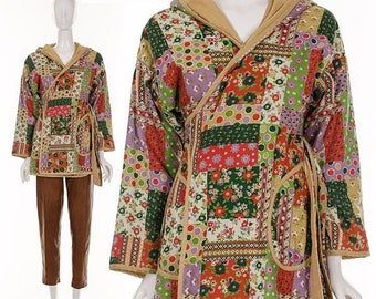 MOVING SALE vtg 60s tan CALICO Print hooded Wrap Coat Med/Large patchwork belted jacket hippie bohemian retro green purple red floral boho