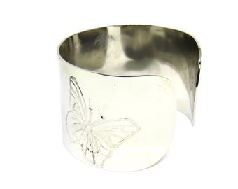 Bracelet, Stainless Steel, Cuff, Women, Men, Mirror Finished, Buttterfly Design, Ready To Ship