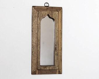 Moroccan Mirror Vintage Wood Framed Mirror Reclaimed Wood Wall Art Dark Yellow Wall Mirror