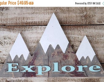 ON SALE Mountain Wall Decor~Mountain Wood Sign~Explore~Mountain Art~Snow Capped Mountain Sign~Rustic~Mountain Wall Plaque~Woodland~Nursery D