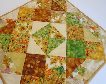 Quilted Table Topper with Sunflowers and Fall Leaves, Autumn Quilted Table Runner,  Golden Leaves Table Topper, Thanksgiving Table Decor