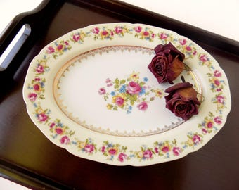Tea Party Serving Platter. Wedding Plate. Occupied Japan. Hostess Gold Castle. Multicolor Flowers. Replacement China. Cottage Wall Decor.