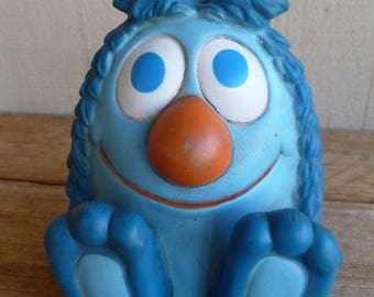 """Gabriel CBS Toys 1978 """"Friendly Blue Monster"""" Squeaky Toy Cake Topper"""