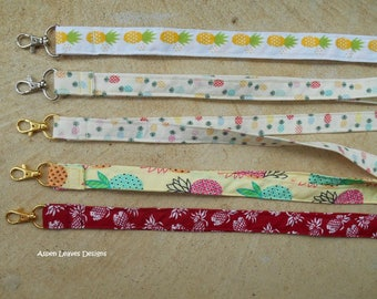 Pineapple lanyards. Five trendy style pineapple lanyards for keys and badges.