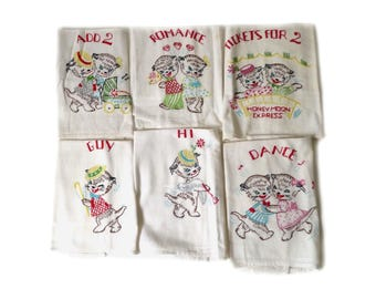 Vintage Set Flour Sack Dish Towel with Kitten Embroidery ... 1950s Kitchen, Wedding Present, Kitchen Towels, Set of 6, Retro Cat Housewares