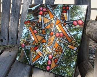 Mirror, mosaic mirror, stained glass mosaic mirror, art glass mosaic mirror, orange mosaic mirror, orange glass mosaic mirror