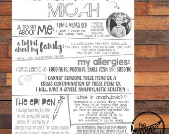 Food Allergy Information Guide for Child - DIY Printing