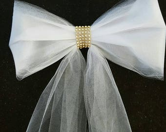 Set of 8 Tulle Pew Bows with Gold Rhinestone Band, Gold Rhinestones, Pew Bows, White Pew Bows, Ivory Pew Bows, Aisle Decorations