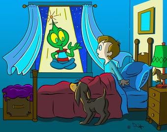 Alien/ET/Martian/Brunette Boy All-Occasion Cartoon Illustration 16x20 Digital Download