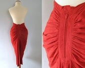 red suede skirt - vintage burgundy maroon soft leather high waisted pencil midi length mermaid fishtail bodycon pinup hippie boho rocker