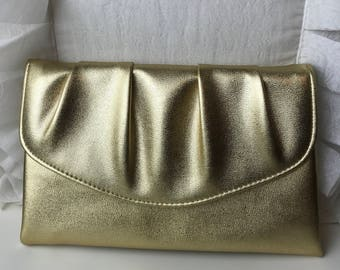 Vintage Metallic Gold 1970's Clutch Purse