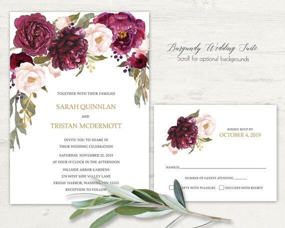 Fall Color Wedding Invitations: Romantic Fall Wedding Invitation Navy Burgundy Wine Blush